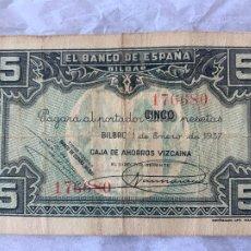 Billetes españoles: BILLETE BANCO DE ESPAÑA 5 PESETAS DE 1937 CAJA DE AHORROS VIZCAINA. Lote 211722241