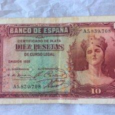 Billetes españoles: BILLETE BANCO DE ESPAÑA 10 PESETAS DE 1935 II REPUBLICA. Lote 211722284