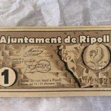 Billetes españoles: BILLETE LOCAL AJUNTAMENT DE RIPOLL 1 PTA 1937. Lote 211722345