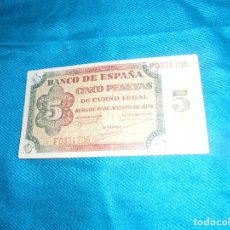 Billetes españoles: BILLETE DE CINCO PESETAS. BURGOS, 10 DE AGOSTO 1938. SERIE F. Lote 211758562
