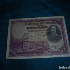 Billetes españoles: BILLETE DE CINCUENTA PESETAS. MADRID, 15 DE AGOSTO DE 1928. SERIE D. VELAZQUEZ. Lote 211759647