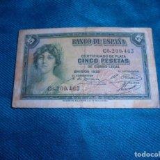 Billetes españoles: BILLETE DE CINCO PESETAS.CERTIFICADO DE PLATA. EMISION 1935. SERIE C. Lote 211760378