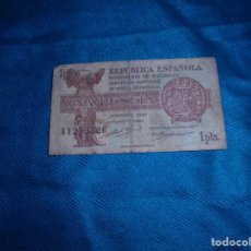 Billetes españoles: BILLETE DE UNA PESETAS. REPUBLICA ESPAÑOLA. EMISION 1937. SERIE A. Lote 211760583