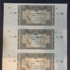 Billetes españoles: TRIO DE BILLETES BILBAO - 1937 - 25 PESETAS - CAJA DE AHORROS VIZCAINA - CON MATRIZ. Lote 211812786