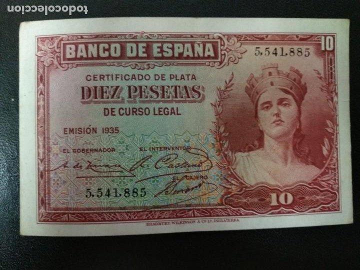 1935 ESPAÑA BILLETE 10 PTAS . 5,541,885 (Numismática - Notafilia - Billetes Españoles)