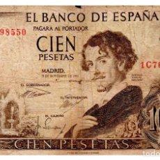 Billets espagnols: BILLETE DE ESPAÑA DE 100 PESETAS DE 1965 MUY CIRCULADO CON ROTURAS. Lote 212485265