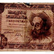 Billetes españoles: BILLETE DE ESPAÑA DE 1 PESETA DEL QUIJOTE ESTROPEADO. Lote 212578405