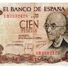 Billets espagnols: BILLETE DE ESPAÑA DE 100 PESETAS DE 1970 MUY CIRCULADO MANUEL DE FALLA. Lote 212578948