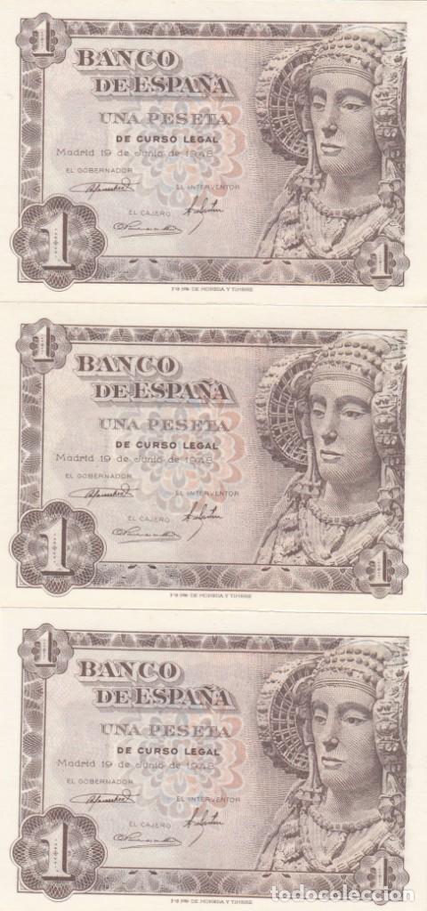 LOTE DE 3 BILLETES DE 1 PESETA 1948 - DAMA DE ELCHE- PLANCHA -NUMEROS CONSECUTIVOS (Numismática - Notafilia - Billetes Españoles)