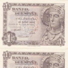Billetes españoles: LOTE DE 3 BILLETES DE 1 PESETA 1948 - DAMA DE ELCHE- PLANCHA -NUMEROS CONSECUTIVOS. Lote 212686732