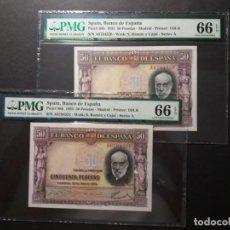 Billetes españoles: PMG BILLETE 50 PESETAS DE 1935 RAMÓN Y CAJAL SERIE A PAREJA PMG 66, 66 EPQ CERTIFICADO SC. Lote 199099943