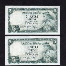 Billetes españoles: 4 BILLETES CORRELATIVOS 5 PESETAS 1954 SIN SERIE S/C. Lote 213229627