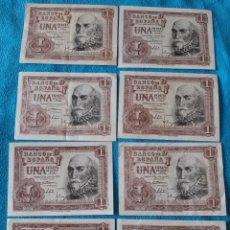 Billetes españoles: 8 BILLETES DE 1 PESETA 1953 EXCELENTES. Lote 213337050