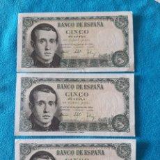 Billetes españoles: 3 BILLETES DE 5 PESETAS CORRELATIVOS DE 1951 EBC. Lote 213337317