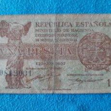 Billetes españoles: 1 PESETA 1937 SERIE C RARA SERIE DIFÍCIL CONSEGUIR. Lote 213342057