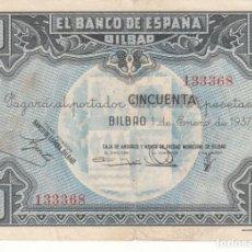 Billetes españoles: BILLETE 50 PESETAS 1937 BANCO ESPAÑA BILBAO - CAMPMB / 133368. Lote 213535211