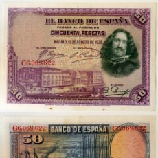 Billetes españoles: 50 PESETAS 15 AGOSTO 1928. MBC. VELÁZQUEZ. Lote 214056575