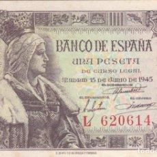 Billetes españoles: BILLETE: 1 PESETA BANCO DE ESPAÑA EMISION 15 JUNIO 1945 / SERIE L620614. Lote 214103472