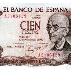 Billetes españoles: BILLETE DE ESPAÑA DE 100 PESETAS DE 1970 CIRCULADO MANUEL DE FALLA. Lote 214154072