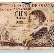 Billetes españoles: BILLETE DE ESPAÑA DE 100 PESETAS DE 1965 MUY CIRCULADO CON ROTURAS. Lote 214399016