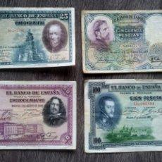 Billetes españoles: 4 BILLETES VIEJOS ESPAÑOLES. Lote 214846371