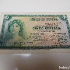 Billetes españoles: ESPAÑA BILLETE DE 5 PESETAS AÑO 1935 SIN CIRCULAR. Lote 214924427