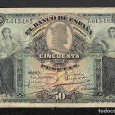 Billetes españoles: 50 PESETAS 1907 SIN SERIE MBC. Lote 215071636