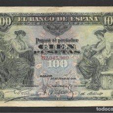 Billetes españoles: 100 PESETAS 1906 SERIE B MBC+. Lote 215072100
