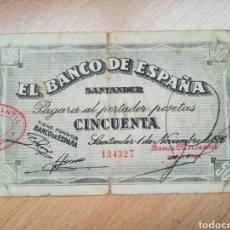 Billetes españoles: BILLETE DE 50 PTAS DEL BANCO ESPAÑA SANTANDER 1936.. Lote 215433148