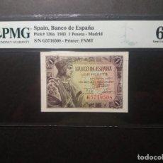 Billetes españoles: PMG BILLETE 1 PESETA 1943 REY CATÓLICO SERIE G PMG 66 EPQ CERTIFICADO SIN CIRCULAR. Lote 215438081