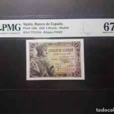 Billetes españoles: PMG BILLETE 1 PESETA 1943 REY CATÓLICO SERIE C PMG 67 EPQ CERTIFICADO SIN CIRCULAR. Lote 215439790