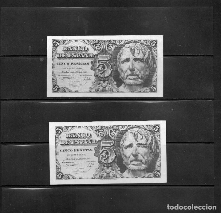 PAREJA DE BILLETES DE ESPAÑA, 5 PTAS SIN SERIE Y CON SERIE, AÑO 1947 (Numismática - Notafilia - Billetes Españoles)