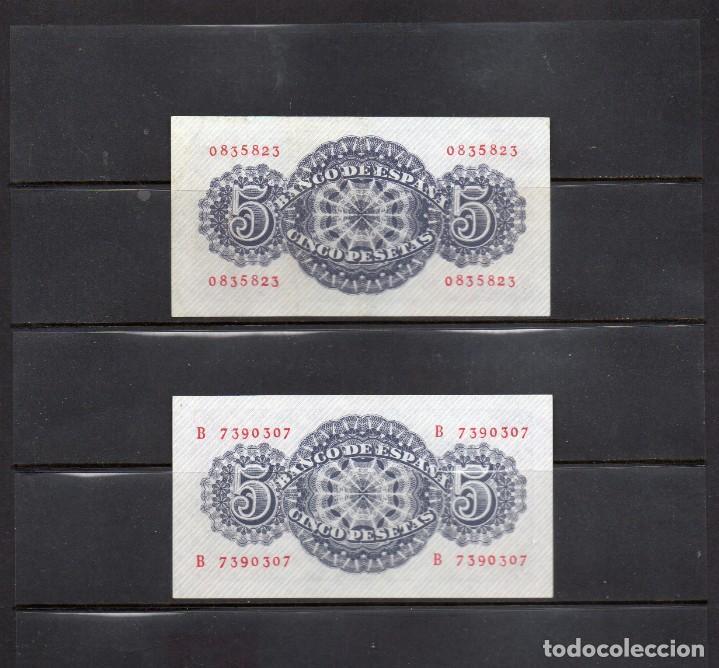 Billetes españoles: pareja de billetes de españa, 5 ptas sin serie y con serie, año 1947 - Foto 2 - 215611587