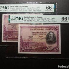 Billetes españoles: PMG BILLETE DE 50 PESETAS 1928 VELAZQUEZ PMG 66/66 EPQ SERIE E PAREJA CORRELATIVA CERTIFICADO SC. Lote 215431487