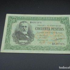 Billetes españoles: BILLETE. 50 PESETAS. MADRID. 1940. MENENDEZ PELAYO. EBC+. Lote 215979695