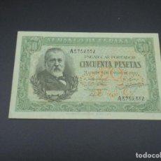 Billetes españoles: BILLETE. 50 PESETAS. MADRID. 1940. MENENDEZ PELAYO. SERIE A. EBC+. Lote 215979952