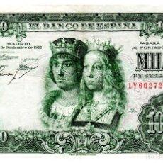 Billetes españoles: BILLETE DE ESPAÑA DE 1000 PESETAS DE 1957 CIRCULADO REYES CATOLICOS. Lote 216403563