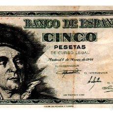 Billetes españoles: BILLETE DE ESPAÑA DE 5 PESETAS DE 1948 CIRCULADO. Lote 216403931