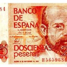 Billetes españoles: BILLETE DE ESPAÑA DE 200 PESETAS DE 1980 CIRCULADO MANCHADO. Lote 216404441