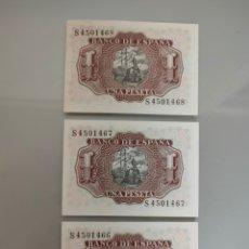 Billetes españoles: 3X BILLETES 1 PESETA 1953 TRIO CORRELATIVO SIN CIRCULAR SERIE S. Lote 216443072