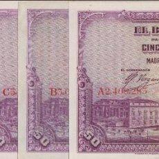 Billetes españoles: BILLETES ESPAÑOLES - ALFONSO XIII - LOTE DE 5 DE 50 PESETAS 1928 TODAS LAS LETRAS (MBC+/EBC+). Lote 216528430