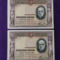 Billetes españoles: PAREJA CORRELATIVA DE BILLETES DE 50 PESETAS. RAMON Y CAJAL. 22 DE JULIO 1935. ORIGINALES.. Lote 216807698