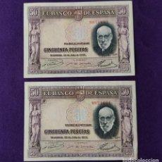 Billetes españoles: PAREJA CORRELATIVA DE BILLETES DE 50 PESETAS. RAMON Y CAJAL. 22 DE JULIO 1935. ORIGINALES.. Lote 216807741
