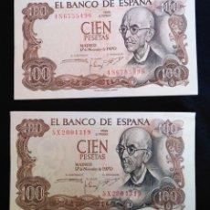Billetes españoles: 2 BILLETES 100 PTAS, MANUEL DE FALLA. EBC. Lote 216957193