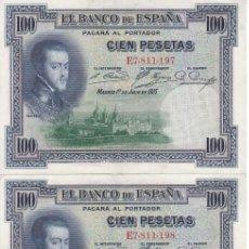 Billetes españoles: TRIO CORRELATIVO DE 100 PESETAS DEL AÑO 1925 SERIE E EN CALIDAD EBC. Lote 217160043