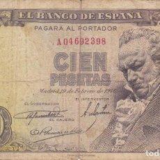 Billetes españoles: BILLETE DE 100 PESETAS DEL AÑO 1946 DE FRANCISCO DE GOYA SERIE A. Lote 217160810