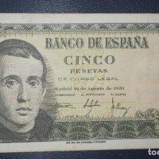 Billetes españoles: B-37.2 BILLETE 5 PESETAS 1951 MBC JAIME BALMES SERIE 1D. Lote 217229991