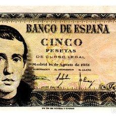 Billets espagnols: BILLETE DE ESPAÑA DE 5 PESETAS DE 1951 CIRCULADO. Lote 217664522