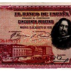 Billets espagnols: BILLETE DE ESPAÑA DE 50 PESETA DE 1928 CIRCULADO VELAZQUEZ. Lote 217664928