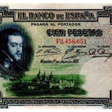 Billetes españoles: BILLETE DE ESPAÑA DE 100 PESETA DE 1925 CIRCULADO FELIPE II. Lote 217664958